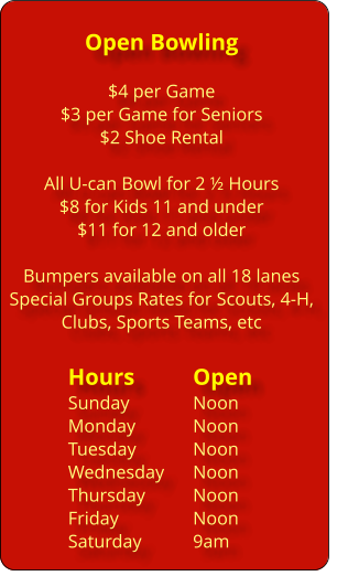 Riverview Lanes Open Bowling Hours